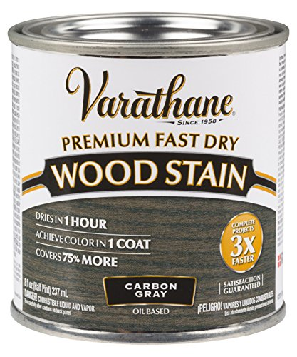 Varathane 307416 Premium Fast Dry Wood Stain, Half Pint, Carbon Gray
