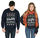 Sanfran - Hubby Wifey Xmas Matching Christmas Top Ugly His Hers Jumper Sweater - Large & Small/Navy Blue
