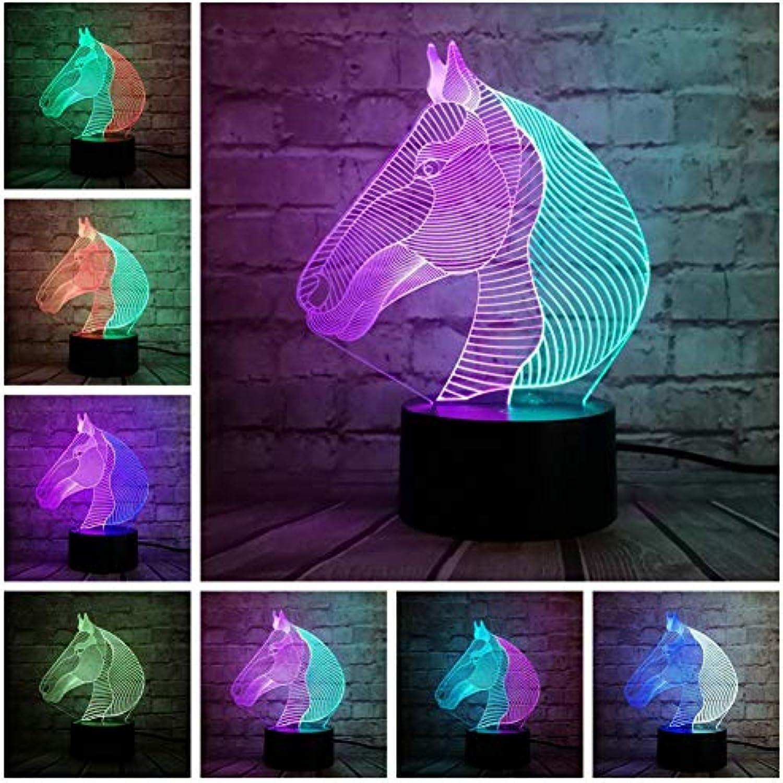 Sakj-d Mischfarbe 3D Lampe Nachtlicht Tier Pferd Kinder Dekor Projektion Led Tischlampe Lava Leuchten Schreibtisch