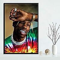 ラッパーの音楽スターのファッションアストロワールドのポスタープリントアートはリビングルームのホームインテリアのためのキャンバスの壁の写真を絵画 (Color : Chocolate, Size (Inch) : 50x70 CM)