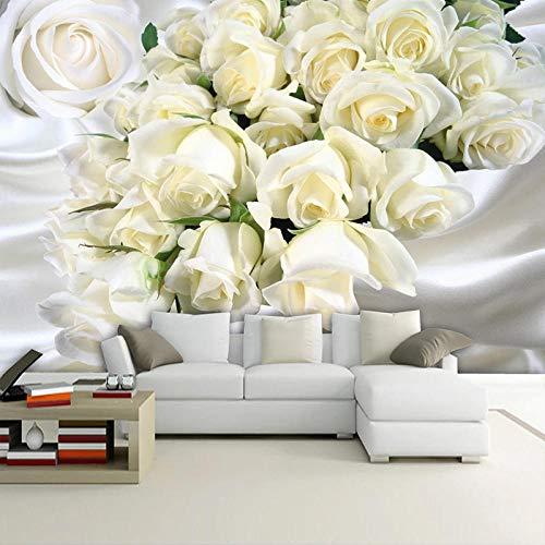 Fotobehang modern romantisch witrozenbloem 200x150 cm vliesbehang wanddecoratie design wanddecoratie voor woonkamer slaapkamer TV achtergrond muur