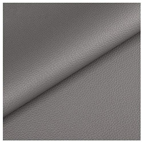NIANTONG Tela de Imitación de Cuero por Metro 140cm de Ancho Patrón de Litchi Tela de Vinilo de Polipiel para Tapicería, Costura, Manualidades, Reparación de Muebles(Color:Grey 41)