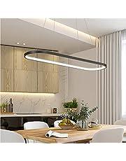Moderne eettafel hanglamp LED dimbaar zwart hanglamp ovaal in hoogte verstelbare kroonluchter met afstandsbediening 54W eetkamer hanglamp creativiteit keuken woonkamer lamp verlichting licht 120