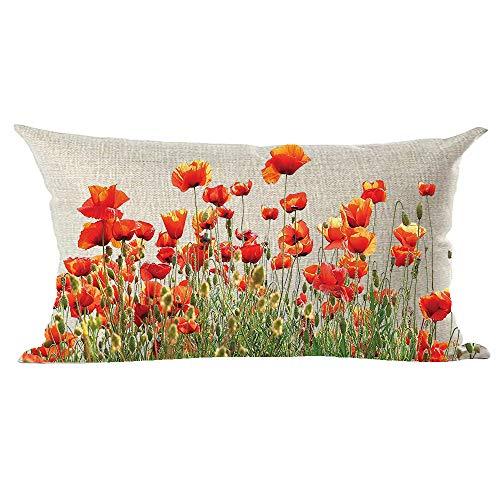 Ramirar - Federa decorativa per cuscino a forma di acquerello, motivo: papavero rosso, arancione e papavero, per casa, soggiorno, letto, divano, auto, in cotone, rettangolare, 30 x 50 cm