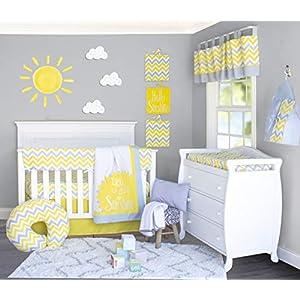 Pam Grace Creations 6 Piece Sunshine Yellow and Gray Chevron Crib Bedding Set