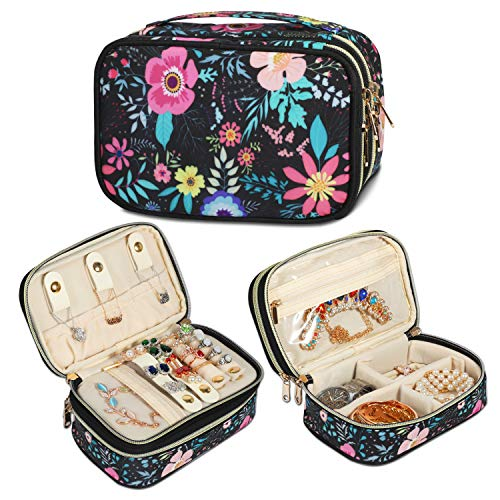 Q-smile Travel Jewelry Case Jewelry Organizer Bag Double Layer Storage Carrying Pouch Holder for Necklaces, Earrings, Bracelets,...