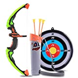 ColiCor Kids Bow and Arrow Set, Children Sport Shooting Archery Toys with Soft Sucker, Arrow and Target Set, Archery set for Boys and Girls, Green