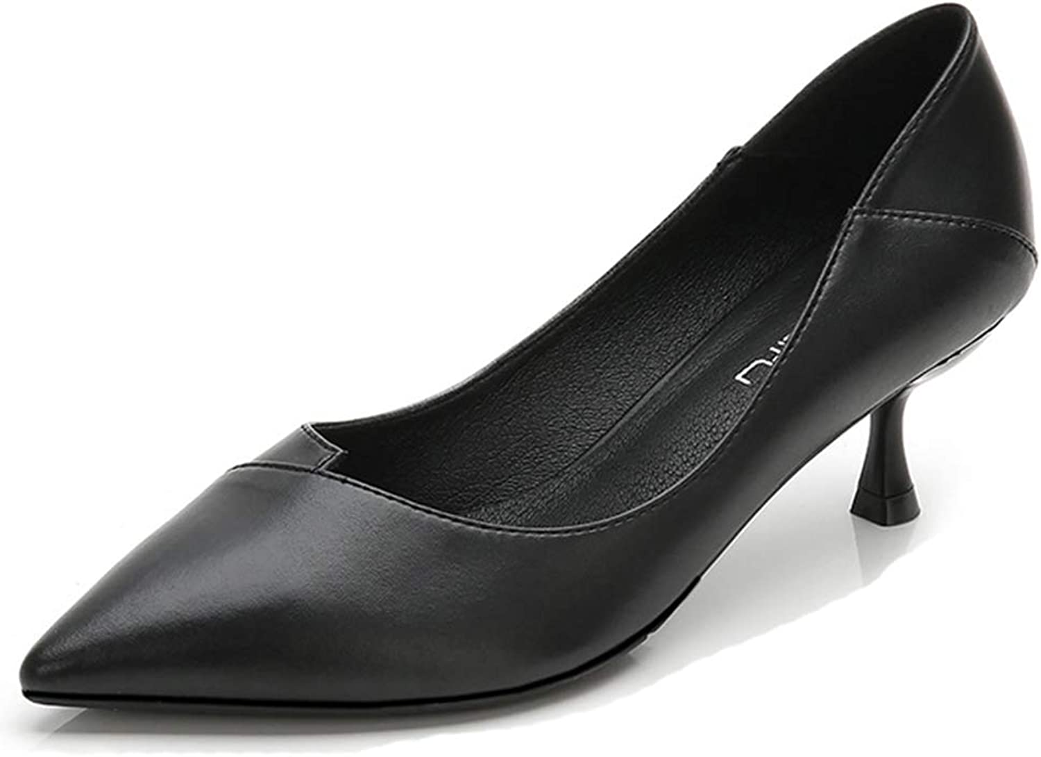 Soulength Women's Classics High Heels Point Toes Small Plus Size Ladies Pumps Non Slip Rubber Comfortable Fashion Work Office shoes(WH04,Black)