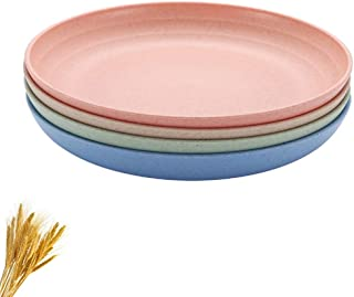 Ymeibe Wheat Straw Plates 4-Pack Reusable Lightweight Unbreakable Degradable Plates Healthy BPA Free Microwave Safe Plates (L/7.8 inch)