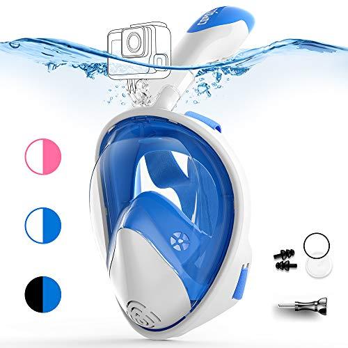 COPOZZ Vollgesichts-Schnorchelmaske für Erwachsene - 180 ° GoPro-kompatible Schnorchelmaske, Anti-Fog-, Anti-Leck-Schnorchel- und Schwimmmaske (Weiß blau, S/M)