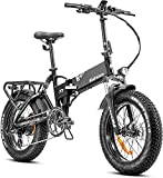Eahora X7 Plus 750W 4.0 Fat Tire Folding Electric Bicycle 48V Hydraulic Brakes Beach Snow Electric Bike for Adults, Full Suspension Cruise Control 8 Speed Gears Regeneration System Electric Scooter