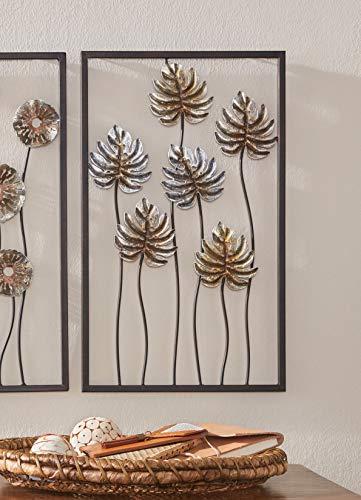 3D Wandbild Blätter aus Metall, 30x50 cm, Wandschmuck, Wanddeko, Wandverzierung, Deko-Objekt