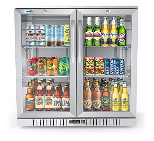 KoolMore 2 Door Stainless Steel Back Bar Cooler Counter Height Glass Door Refrigerator with LED Lighting - 7.4 cu.ft (BC-2DSW-SS), Double Door