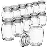 COM-FOUR 12x Gewürzgläser-Set mit Glasdeckel, Vorratsdose, Glasfläschchen, Bonbon Gläser Set, Aufbewahrung von Ölen, Gewürzen, Kräutern oder Tee ca. 160 ml (12 Stück - Vorratsglas)
