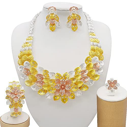 QXZ-WOLFBERRY Nigeria 24k Conjuntos de Joyas de Color Dorado para Mujeres Collar de Lujo Pendientes Pulsera Anillo India Regalos de Boda africanos Conjunto de Etiopía (Metal Color : BJ856 1)