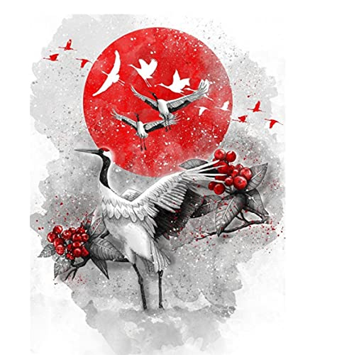 Diamond Painting Animal Crane Home Decoration Diamond Embroidery Black Red Mosaic Bedroom Decoration 40 * 50cm (no Border)