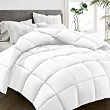 HYLEORY All-Season King Size Bed Comforter - Cooling Goose Down Alternative Quilted Duvet Insert with Corner Tabs - Winter Warm - Machine Washable - White