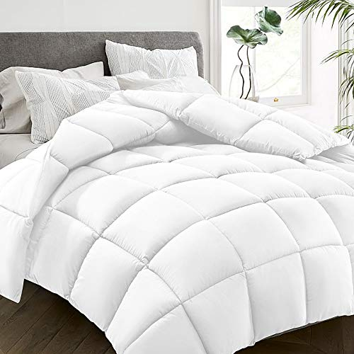 HYLEORY All Season Queen Size Bed Comforter - Cooling Goose Down Alternative Quilted Duvet Insert with Corner Tabs - Winter Warm - Machine Washable - White