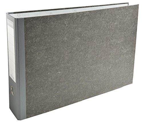 Exacompta 53810E Ordner (Wolkenmarmoriert, 2 Ringe, 80 mm Rücken, DIN A3 quer) 1 Stück grau