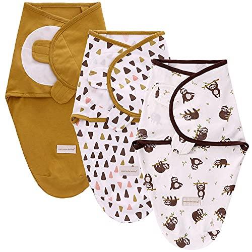 SaponinTree Manta de bebé para recién Nacidos y bebés, Paquete de 3 Mantas 100% algodón Transpirable Ajustables para bebés Unisex de 0 a 6 Meses (marrón)
