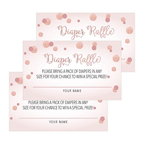 25 Blush Diaper Raffle Ticket Lottery Insert Cards For Pink Girl Baby Shower Invitations, Supplies and Games For Baby Gender Reveal Party, Bring a Pack of Diapers to Win Favors, Gifts and Prizes