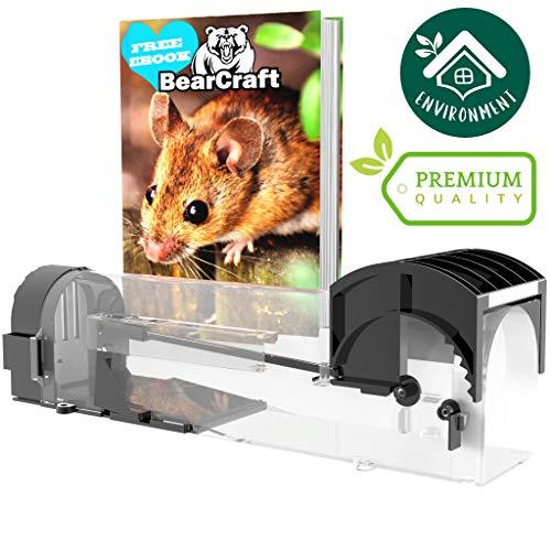 BearCraft Lebend Mausefalle mit **GRATIS eBook** | Transparente und Wiederverwendbare Rattenfalle | Nagetierfalle mit Belüftungslamellen für effizienten Fangerfolg