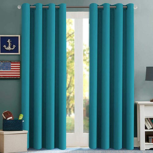 H.VERSAILTEX Thermal Insulated Blackout Curtains Innovated Microfiber Formaldehyde-Free Window Panels for Nursery, Grommet,52 by 84 - Inch - Turquoise Blue - Set of 2
