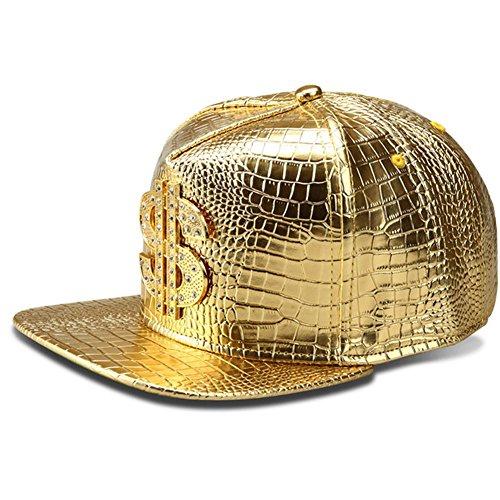 LEEYA NYU14 The New Crocodile Baseball caps Alloy Dollar Flat-Brimmed hat Hip-hop hat (Gold)