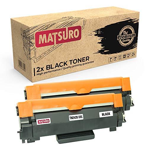 Matsuro Original | Compatible Cartucho de Toner Reemplazo para Brother TN-2420 XXL (2 Negro)