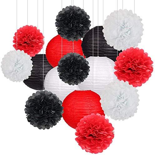 15 Stücke Party Pack Papierlaternen und Pom Pom Balls Hängende Dekoration für Halloween Hochzeit Geburtstag Baby Shower-Black/Rot/Weiß