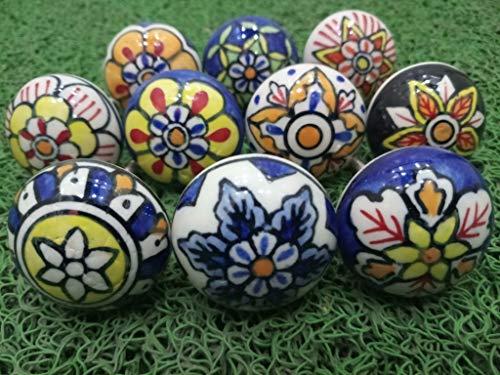 10 pomelli in ceramica effetto vintage, con fiori, per porte, armadi, cassetti, credenze, design floreale