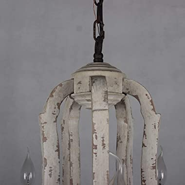 BINHC Novelty Chandelier,Wooden Chandelier Vintage Lamp 5-Candle Holder Lights White Wood Metal Chandeliers Lighting for Dini