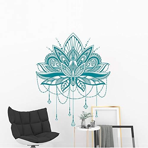 Calcomanía de pared Mandala-Calcomanía de loto Mandala,regalo para ella,regalo de mejor amiga,calcomanía de diseño de henna,papel tapiz,etiqueta de la pared A3 42x53CM