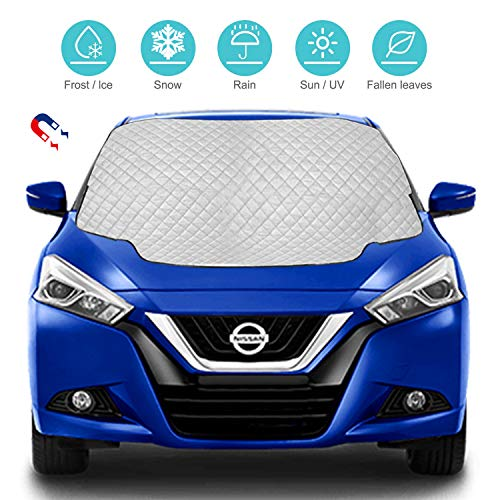 Car Windscreen Cover, Magnetic Snow Cover with 3 Hidden Magnets, Snow UV Ice Protection Car Windshield Cover, Frost Guard Pefect Fit for Cars in All Weather, 147cm × 118cm