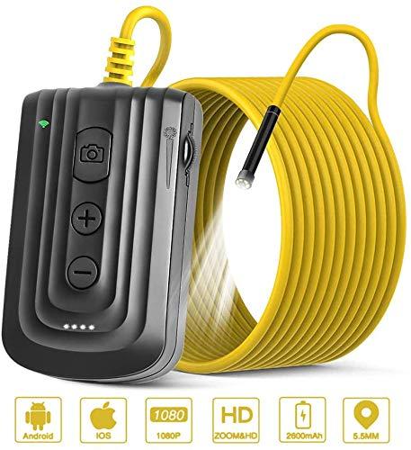 NEKAN Cámara de inspección inalámbrica endoscopio Wi-Fi boroscopio 2.0MP HD impermeable serpiente cámara con 6 luces LED ajustables, para Android e IOS Smartphone, iPhone, Samsung