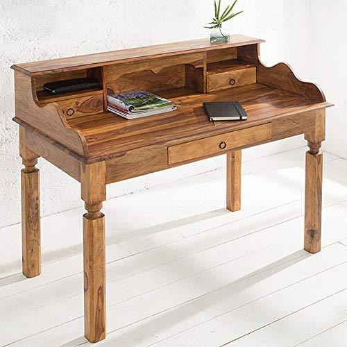 CAGÜ - SEKRETÄR & Schreibtisch [Salem] mit 3 SCHUBLADEN aus SHEESHAM MASSIV Holz GEWACHST 115cm, NEU!
