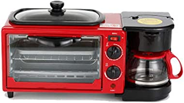 Compact Fast Breadmaker, Home Multi-function Breakfast Electric oven Coffee Machine Frying Three-in-one Breakfast Machine, 1000W Black (Color : Red)