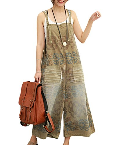 YESNO PE5 Women Loose Cropped Pants Overalls Rompers 100% Cotton Casual Floral Printed Distressed Boyfriend Wide Leg/Pockets, Pe5 Coffee, X-Large