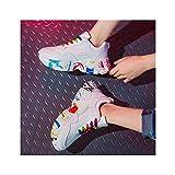 HaoLin Zapatillas de Plataforma para Mujer, Zapatos de Trabajo de Enfermera Transpirables, Antideslizantes, Ajustables, Cómodos, para Caminar, Correr, Zapatos Ligeros,White-37 EU