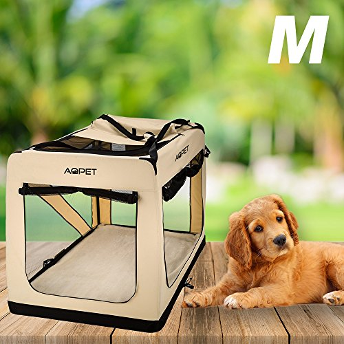 AQPET Trasportino borsa pieghevole per cani gatti animali cuccioli taglia MEDIUM 52x70x52h cm colore Beige