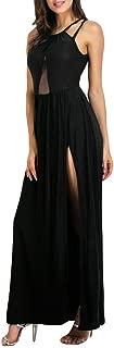 Emimarol Womens Dress Summer Plus Size Dress Solid Slit Hollow Out Dress Backless Camisole Long Dress Party Enening Dress