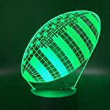 Gyybfhn Lampes De Chevet Lampe 3D Rugby Football Sport Ballon Jeux Chambre Décoration 7 Couleurs Cadeau De Vacances Pour Enfants Night Light Lamp