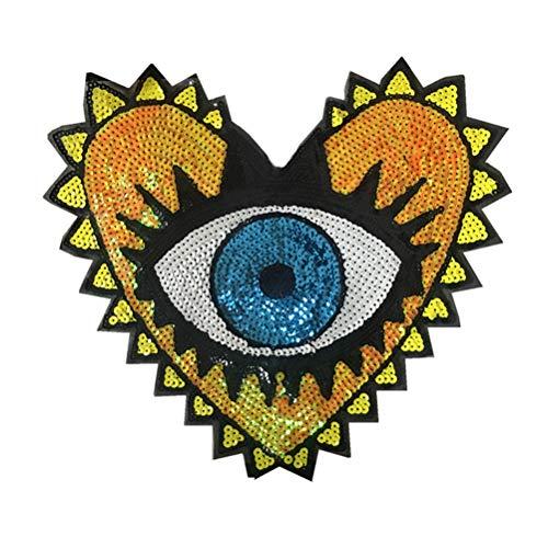 LIOOBO bestickte Pailletten-Aufnäher Herz-Augen-Form Aufnäher zum Aufbügeln von Applikationen für Kleidung Jacken Hüte Rucksäcke Jeans (Gelbe Augen)