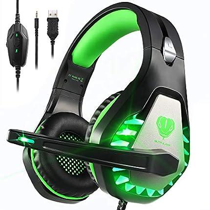 Pacrate Auriculares Gaming PS4, Cascos Gaming para PC Xbox One Nintendo Switch Mac, Auriculares con Micrófono de Estéreo Bass Surround y Cancelación de Ruido, Cascos Gaming 3.5mm Jack con Luz LED