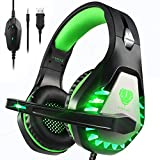 Pacrate Auriculares Gaming PS4, Cascos Gaming para PC Xbox One Nintendo Switch Mac, Auriculares con Micrófono de Estéreo Bass Surround y Cancelación de Ruido, Cascos Gaming 3.5mm Jack con Luz LED