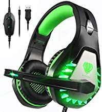 Pacrate Gaming Headset with Microphone for Laptop Xbox One Headset PS4 Headset Mac Gaming Headphones with Microphone Noise Isolating PC Headset with LED Lights Deep Bass for Adults Kids Black Green