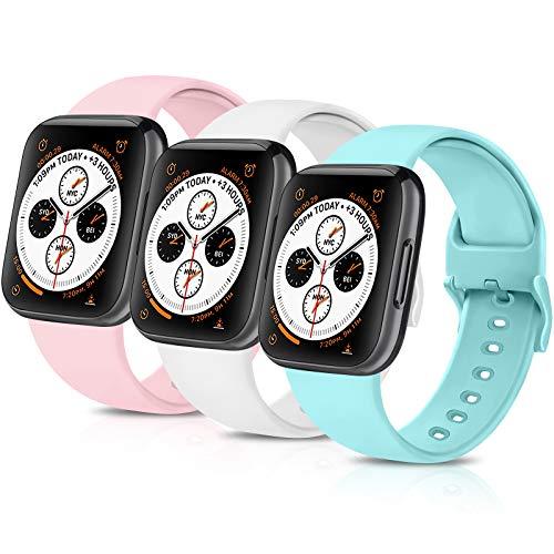 Funeng - Juego de 3 correas de repuesto para Apple Watch de 38 mm, 40 mm, 42 mm, 44 mm, silicona suave, para iWatch Series 6 5 4 3 2 1 (blanco/rosa/azul claro, 38 mm/40 mm M/L)