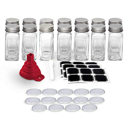 Set of 14 - Square Glass Spice Jars with Shaker Tops and Funnel, Chalkboard Labels & Pen, and Airtight Silver Metal Lids, 4 fl oz Capacity, By California Home Goods