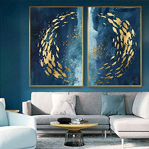 VAWAA 2 Piezas de Peces Dorados Abstractos Pintura de Lienzo Chino Cartel Azul Grande Impresión de Arte de Pared de Lujo para Sala de Estar Pasillo Cuadro de Cuadros de Oro 70x105 cm Sin Marco