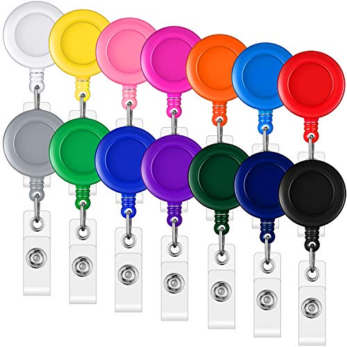 140 Pieces Colorful Badge Reel Retractable Badge Holder Reel with Metal Belt Clip Assorted Color ID Badge Reel Clip for ID Card Holders Badge Key Keychain Holders, 14 Colors (Solid Color)